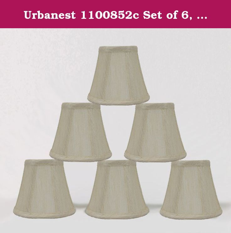 Urbanest 1100852c Set of 6, Cream Chandelier Mini Lamp Shades 5-inch, Bell, Clip On. Urbanest handmade 6-Inch natural burlap chandelier shades instantly update your home decor. You can use them for your chandeliers, wall sconces or small accent lamps. The rolled edge shades add French country, high country and natuar to your home.