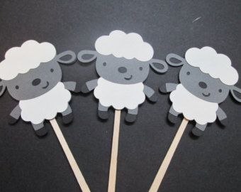 Lamb Theme Baby Shower Favors | Set of 12 Lamb Cupcake Toppers-Baby Showers, Farm Theme, Easter ...