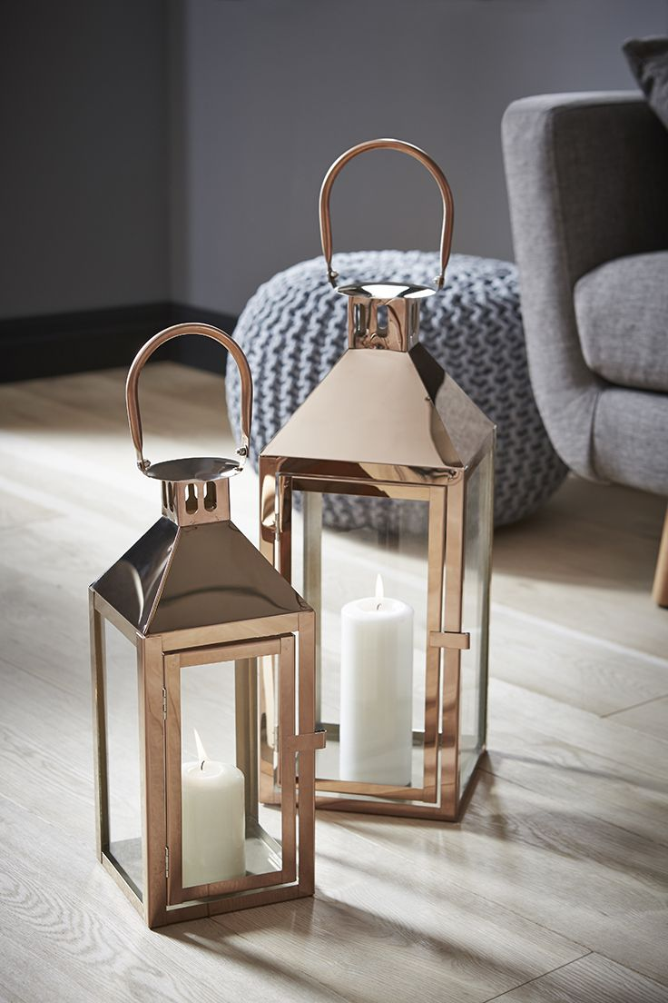 Copper lanterns is various sizes will lift the look of any room, available at The Range now #homestyle #autumwinterstyle #lantern