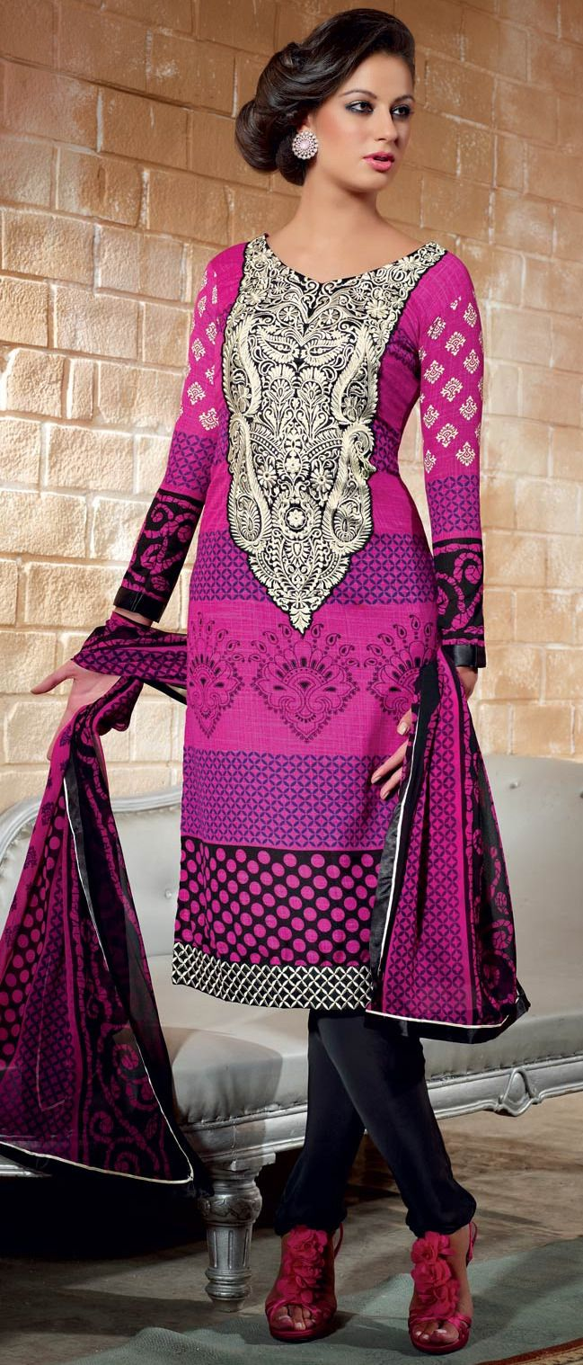 #Pink and #Black Faux Crepe Jacquard #Churidar Kameez	 @ $ 50.19