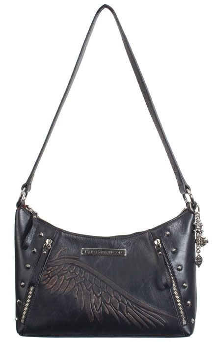 Harley-Davidson® Womens Punk Shoulder Bag Purse Black Leather