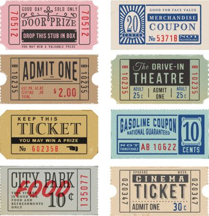 Vintage Tickets and Coupons vector art illustration