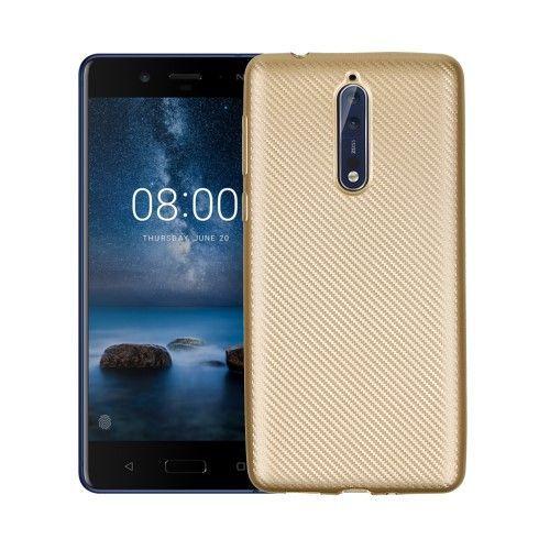 Feuilles D'or Tpu Cas De Conception Pour Le Nokia 8 IlDWI