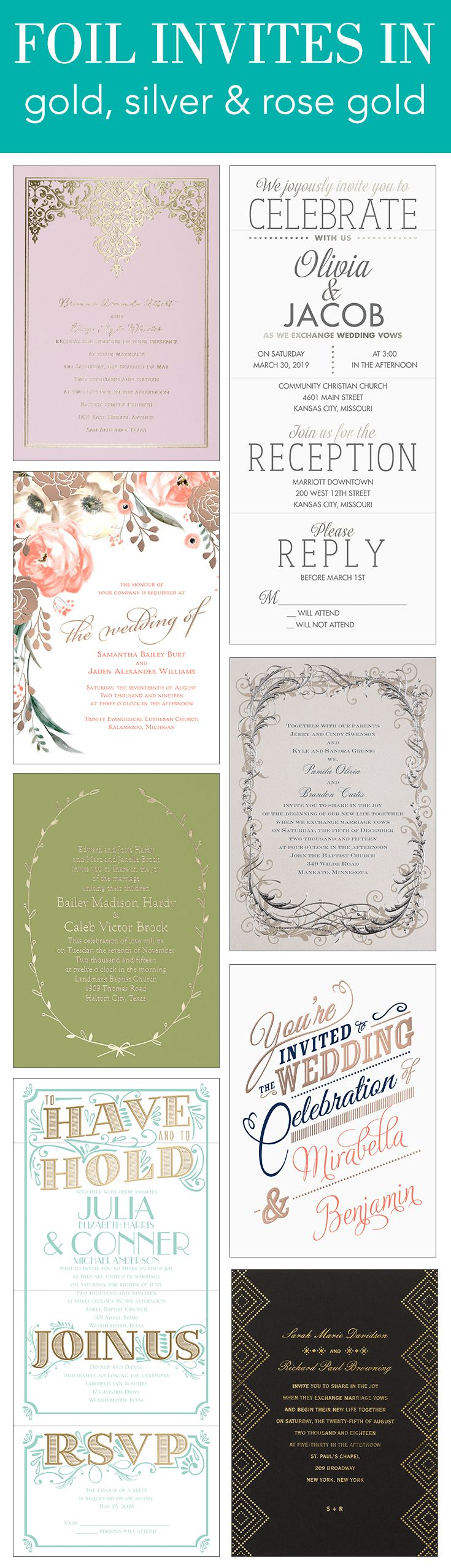 Foil wedding invites you won't find anywhere else. Stunning designs from David Tutera, Colin Cowie and more in Gold, Rose Gold & Silver.