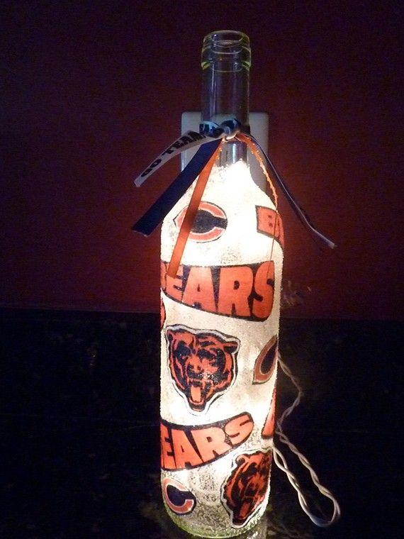 Handmade Lighted Wine Bottle w/ Chicago BEARS