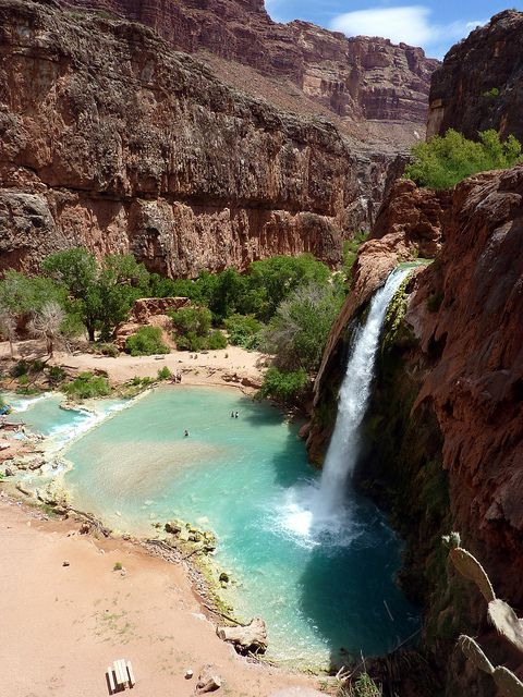 Havasu Falls located in a remote canyon in Grand Canyon National Park, in the state of Arizona.
