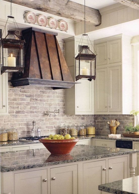 Traditional Kitchen with Glass panel, York Cream RN1030 Rustic Brick Wallpaper, Inset cabinets, Kitchen island, L-shaped