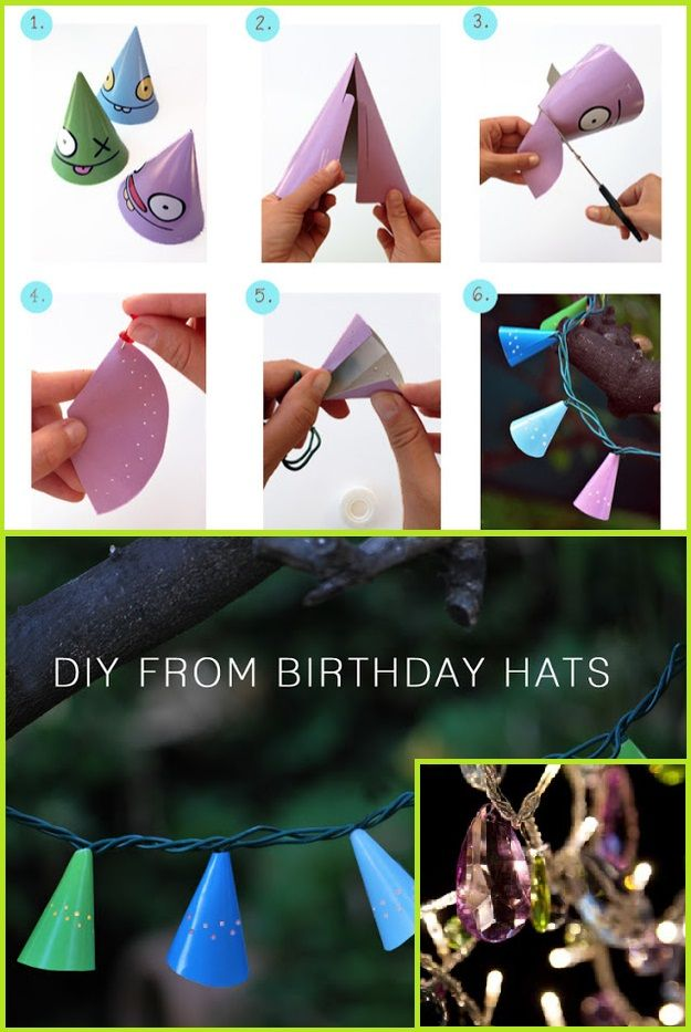 Make a colorful garland from birthday hats.  For Step 5, you can use Bohemia Electric - $59.95.