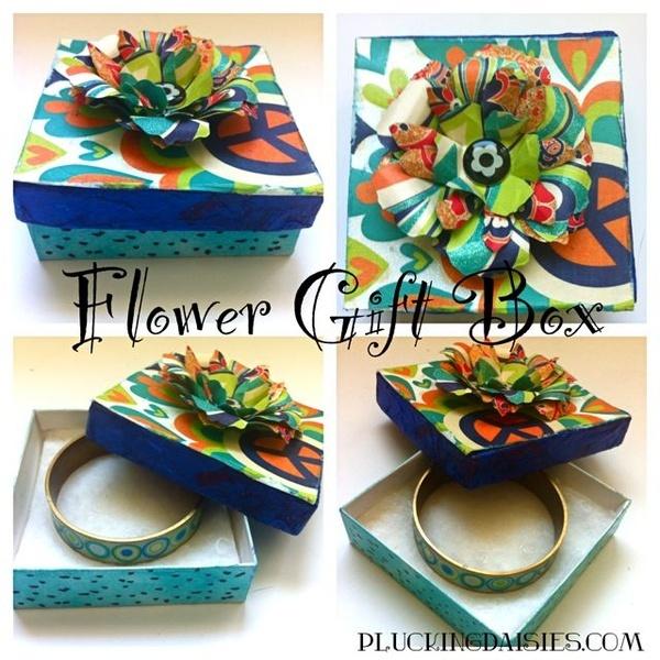 Paper Flower Gift Box Cheers mod-podge-rocks o.O Cool Stuff