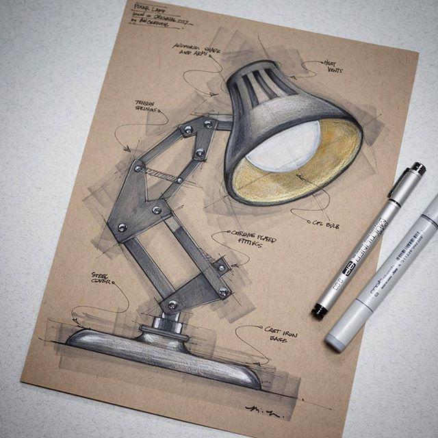 Lámpara dibujo industrial