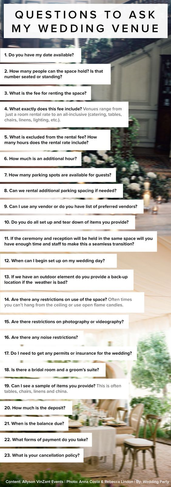 best ideas about wedding venue questions wedding 23 questions to ask my wedding venue by allyson vinzant events