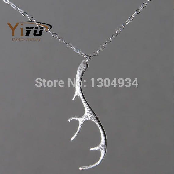1 пк олень рога ожерелье о олень компактный олень рога кулон крошечный Simple золото серебро ожерелье для женщины N055 купить на AliExpress