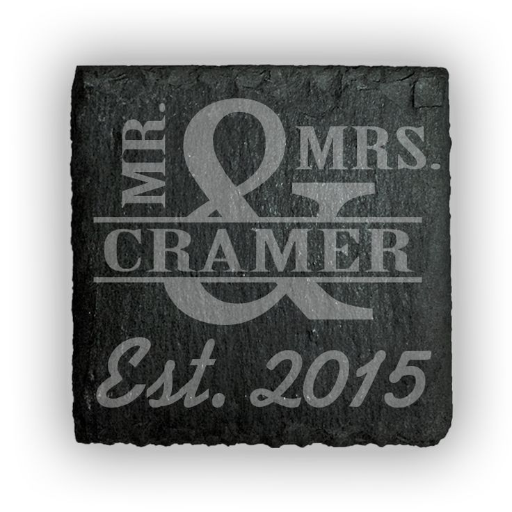 Square Slate Coasters (set of 4)  - Mr & Mrs. Personalized with name thru large and sign and est. date