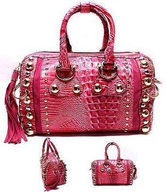 Amazon.com: HOT PINK Croc/Faux Leather Designer Inspired Studded Barrel Bag w/beautiful Detail w/leather and top handles w/additional Removable Shoulder Strap by Jersey Bling: Clothing
