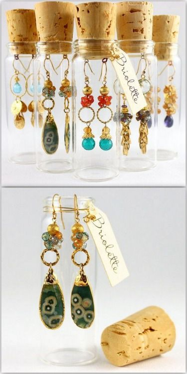 DIY Earring Packaging Inspired by Briolette Jewelry.Add eye screws to a cork stopper and hang earrings in a glass vial.