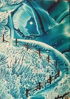 BLUE! Original encaustic painting by Patty Chapman  5x7
