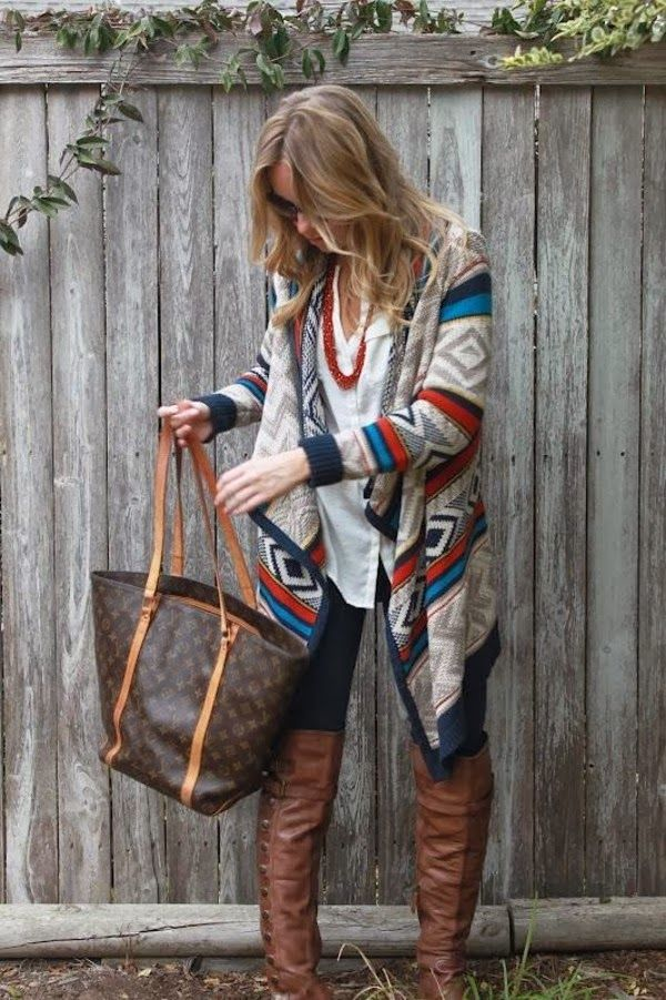 Super fall style with aztec cardigan and long boots | Women Fashion Galaxy