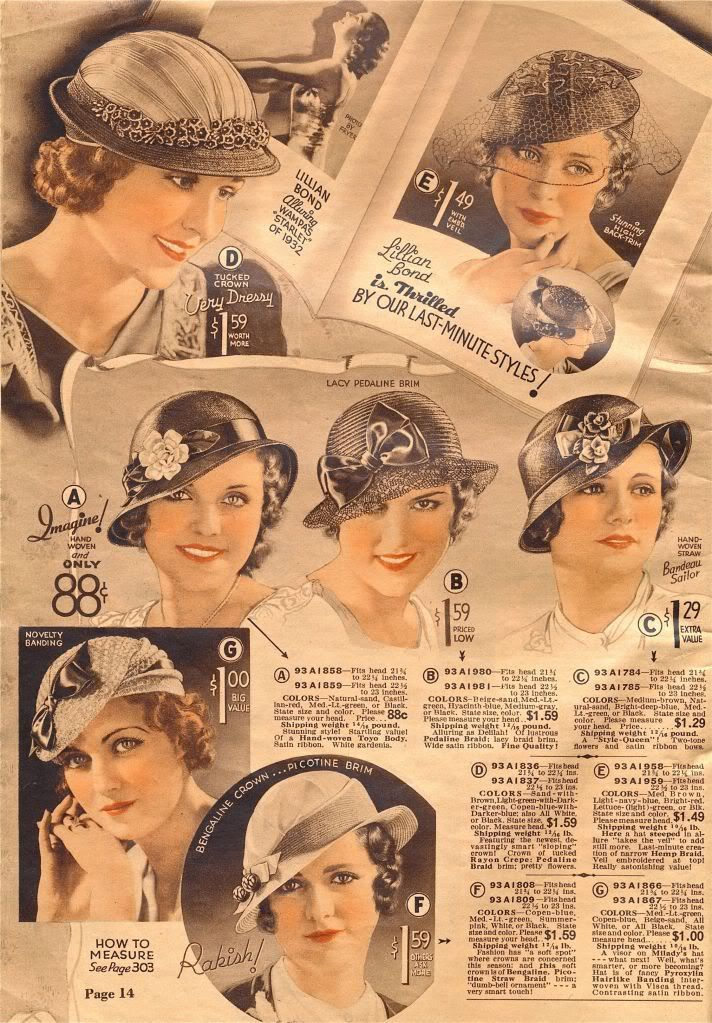 1930s fashion accessories: hats, milinery. Hats from Chicago Mail Order Catalog 1933 source: http://what-i-found.blogspot.be/2009_11_01_archive.html