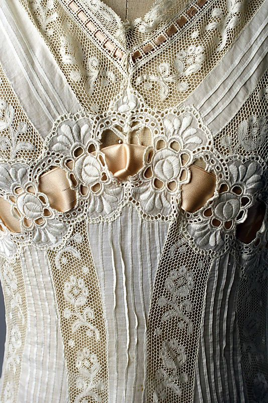 Chemise (detail), French, 1908 (gift of Miss Ethel Frankau, 1945) at The Metropolitan Museum of Art (metmuseum.org).