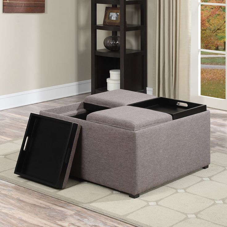 Simpli home avalon linen coffee table storage ottoman from home design Linen ottoman coffee table