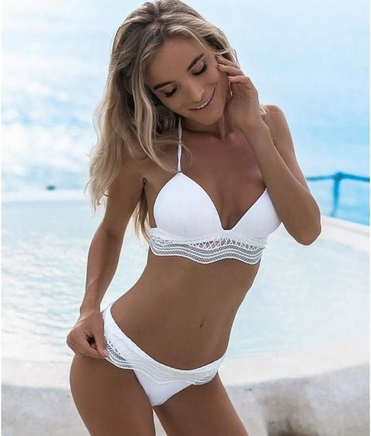 8af7e20355d Buy Spring Summer 2018 Swimwear Trends Women s White Lace Push Up Beach  Bikini Swimsuit on Sale by PesciModa.Shop swimwear boutique bathing suits