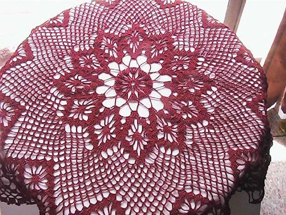 Burgundy Tablecloth Round Table Cover Handmade