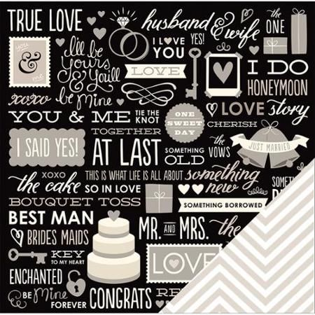 "American Crafts Wedding Double-Sided Cardstock 12""X12""-Wedding Phrases - Walmart.com"