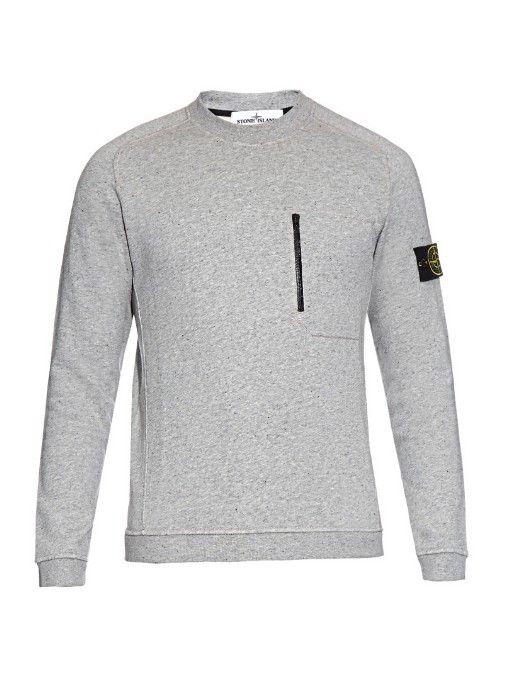 Stone Island Zip-pocket cotton-fleece sweatshirt