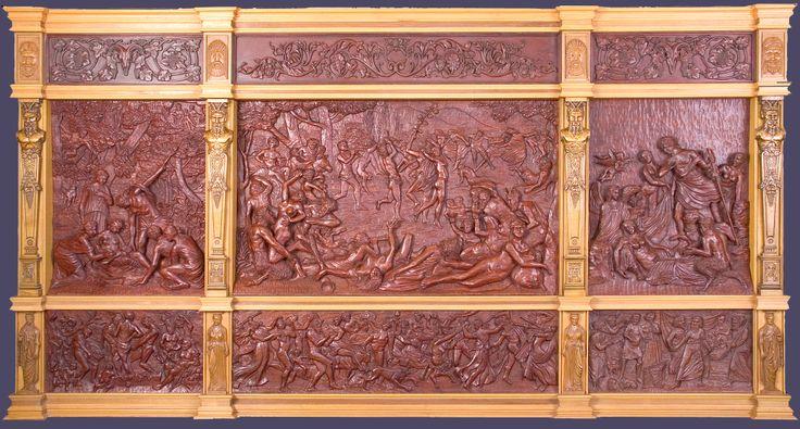 """J. M. Félix Magdalena.-  """"DIONISIACAS"""", retablo con relieves tallados en madera de bubinga y peral, 258 x 135 x 13 cm"""
