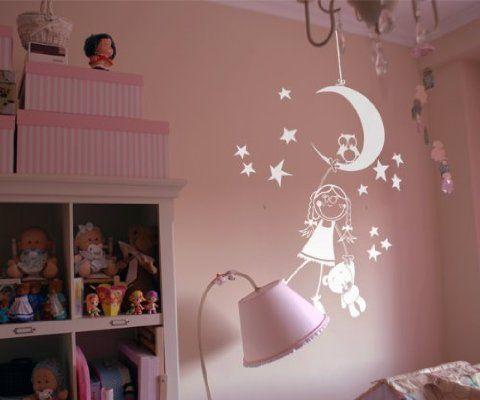 Vinilos decorativos infantiles de niña en la luna 80x120 cms Blanco