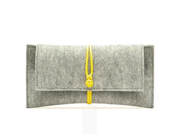 gray felt clutch bag with yellow paracord closure. by FMLdesign, €42.00