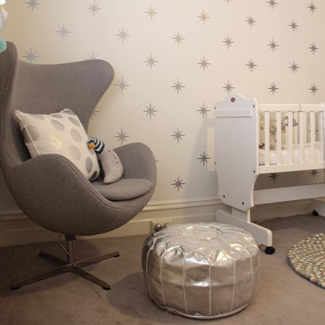 Nope, that's not wallpaper. That's lots and lots of wall decals and baby Oscar's dad painstakingly placed each one on the wall with love! (📷 from @nestdesignstudio's #beautifulbabiesrooms book) #babyroom #cradle #wallsticker #wallpaper #walldecal #eggchair #nursery #kidsroom #babysroom