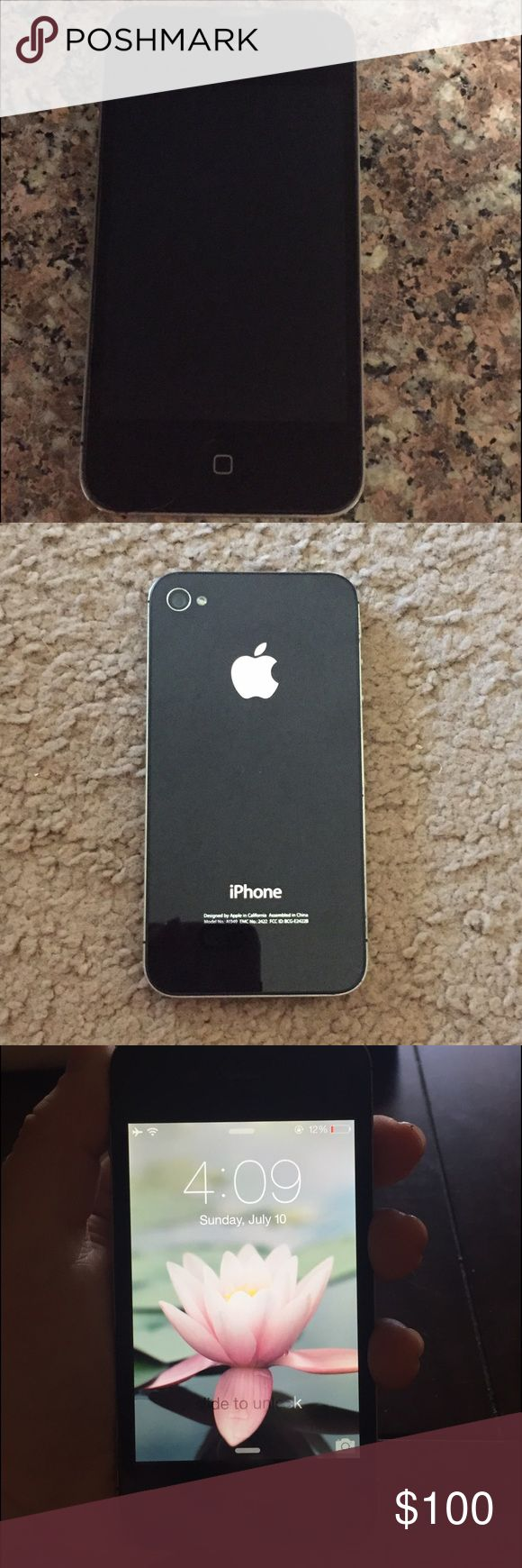 iPhone 4- Black iPhone 4 - 8GB - Black No scratches/cracks. Like - new condition  The phone will be restored and fully charged when bought. Apple Other