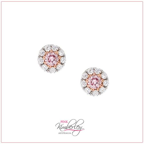 Adoration heart emoticon  Beautiful Pink Diamond Earrings.... Set in 18ct White Gold, 2 Pink Round Brilliant Cut Diamonds totalling 0.09ct (5PP/SI) surrounded by 18 Round Brilliant Cut Diamonds equal to 0.09ct (F/VS)  PKE-370