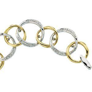 14K White And Yellow Gold Tt Diamond Bracelet GoldenMine. $3185.00. Promptly Packaged with Free Shipping and Free Gift Box... Perfect for Gift Giving. Manufactured using up-to-date manufacturing techniques ensuring the highest quality and value. This jewelry is symbolic in nature and can be the perfect gift for any and all occasions. Completely redesigned and revamped for the year 2012. This item features a high polish finish for Excellent sparkle and pop. Save 71%!