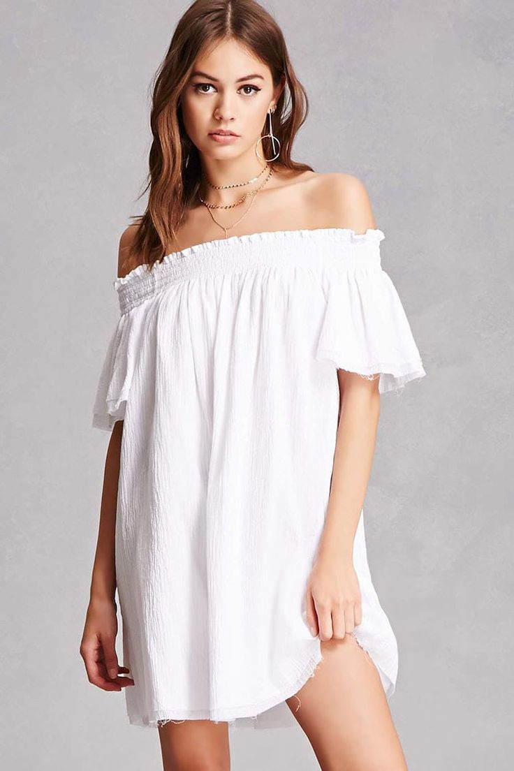 A crinkled woven dress featuring a smocked off-the-shoulder neckline with ruffle trim, short layered sleeves, a layered hem, raw-cut trim, and a billowy silhouette.<p>- This is an independent brand and not a Forever 21 branded item.</p>