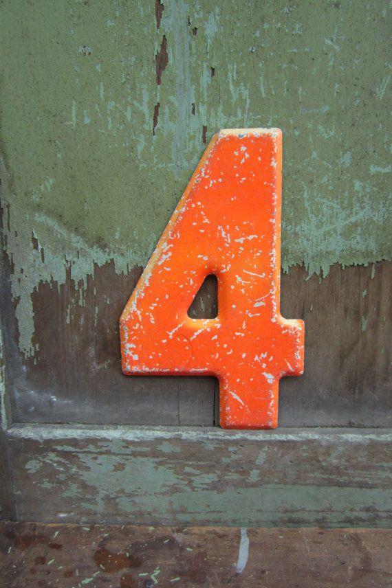 Vintage Metal Chippy Number 4 Four Orange Sign Painted ...