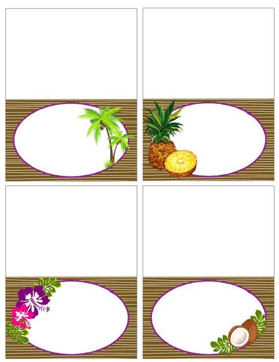 Printable Vintage Hawaiian Luau Food Labels PDF Instant Download