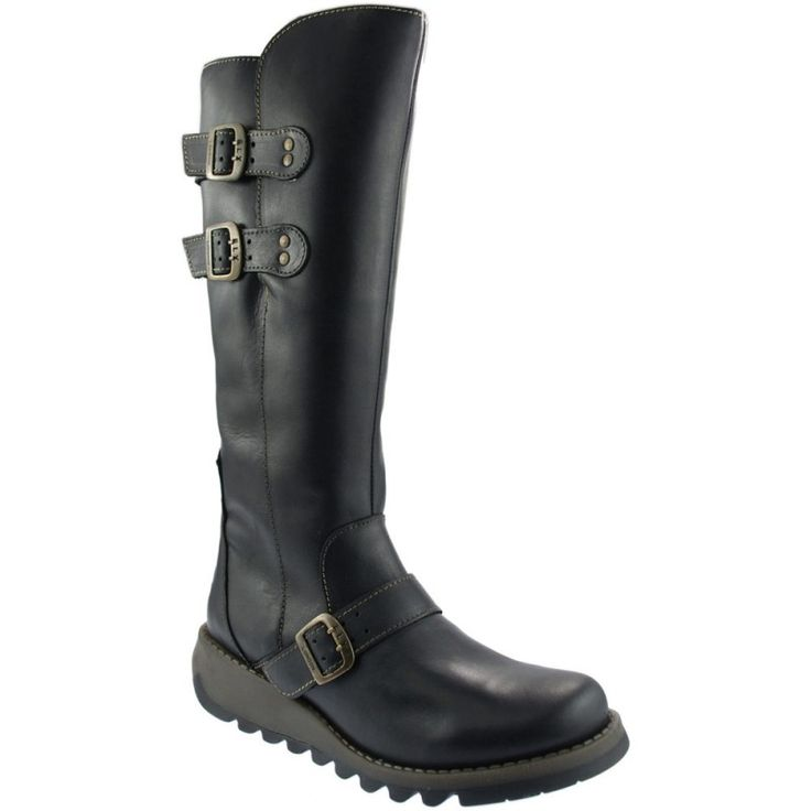 Ladies black leather Fly London high leg boots with three buckles - Buy the Fly London Solv black boots online at jamesandjames.com