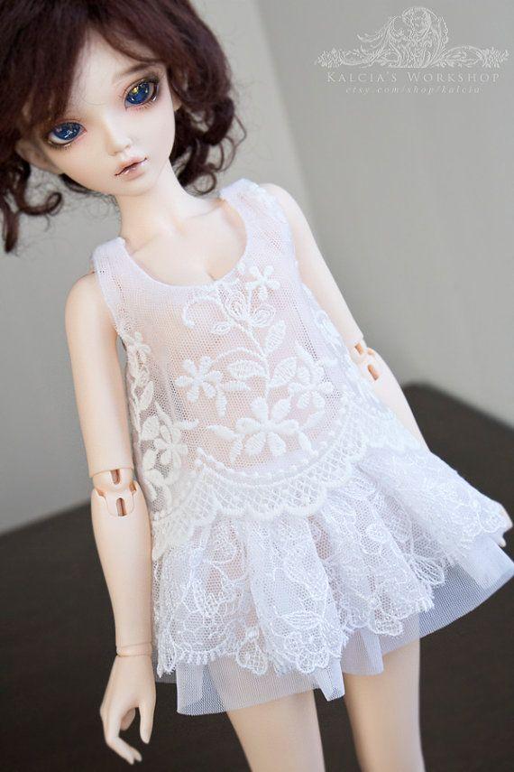 White lace top for Mini Super Dollfie MNF Minifee Volks by kalcia
