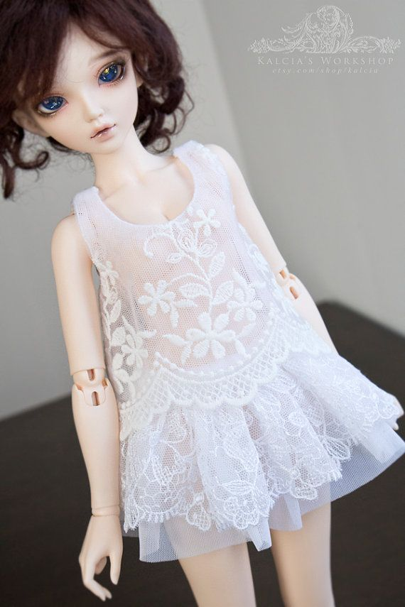 White lace top for Mini Super Dollfie MNF Minifee Volks by kalcia
