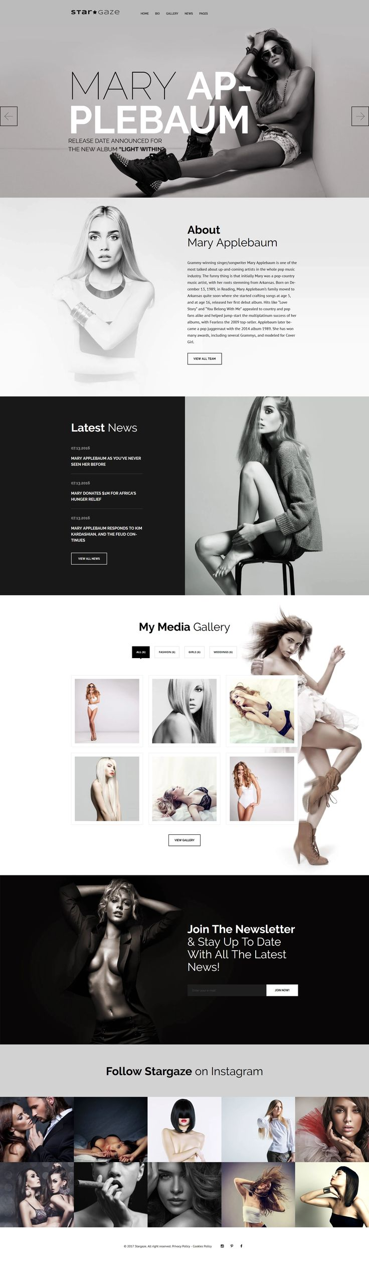 Stargaze is a fully responsive and SEO friendly Celebrities WordPress Theme, produced for media websites. Capture your audience by a ravishing star's portfolio with powerful TM Gallery. This feature will make a professional showcase of your Vogue photos in a stylish way! Make a catchy presentation of all the info with elegant Website Slider and make your star's gossip site far more user-friendly by showing up your team members and testimonials. This Cherry Framework 5 based entertainment…