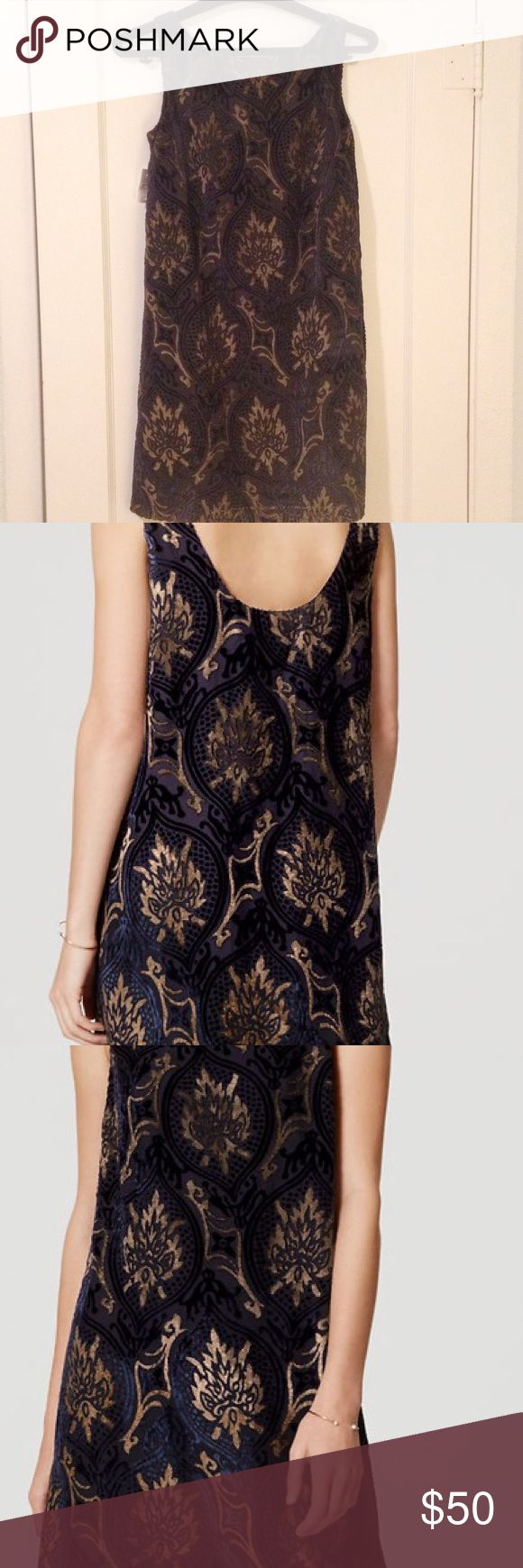 NWT LOFT Mystic Velvet Swing Style Dress Beautiful navy swing style dress with velvet design, boatneck, and swoop back. Perfect for any night out, wedding or cocktail party! LOFT Dresses Mini