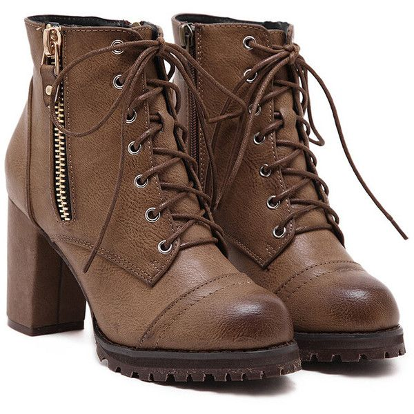 Brown Lace Up Zipper Chunky Boots ($30) ❤ liked on Polyvore featuring shoes, boots, brown, short brown boots, ankle boots, lace up high heel booties, high heel booties and brown booties