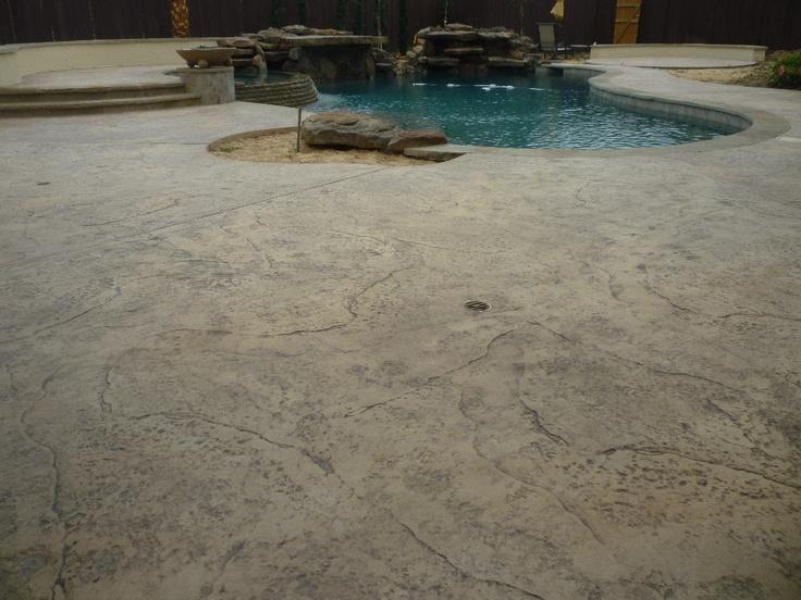 Old Granite Pool Deck Stamped Concrete Pinterest