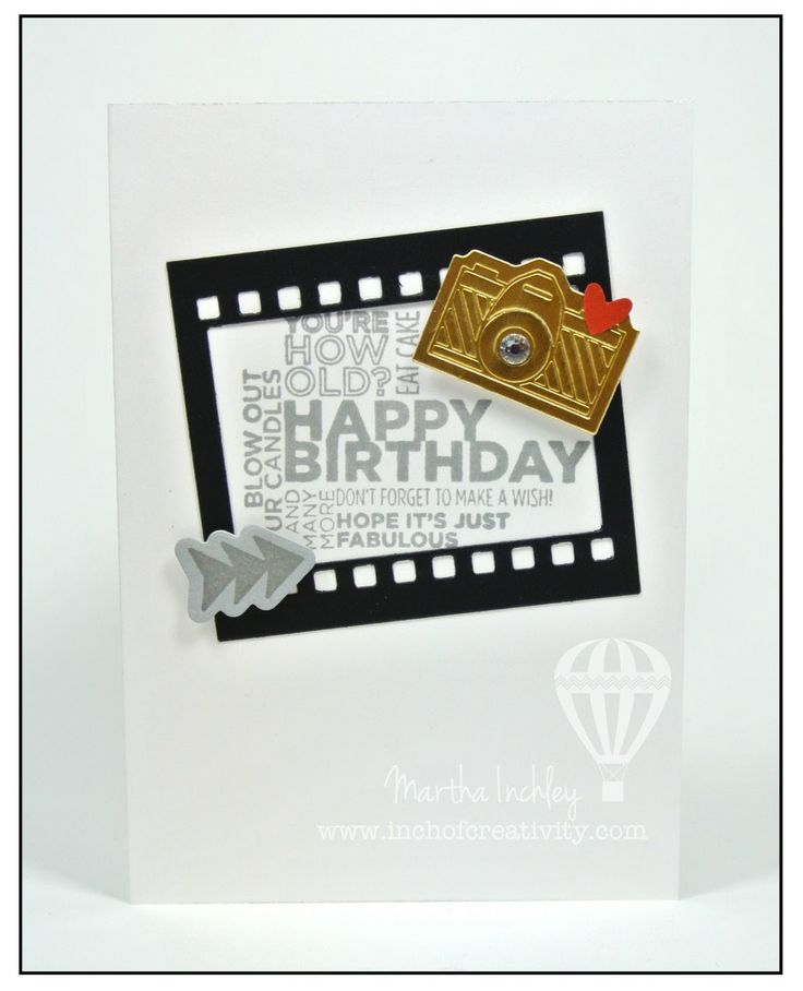Martha's fun birthday card: Delightful Dozen, Peachy Keen, On Film framelits, Gold Foil Paper, Notecards. All supplies from Stampin' Up!
