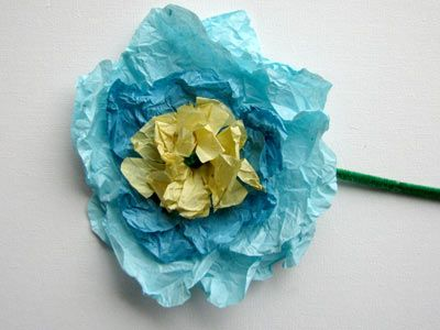 You can make homemade tissue paper flowers for all of your little butterflies to take home with them! <3