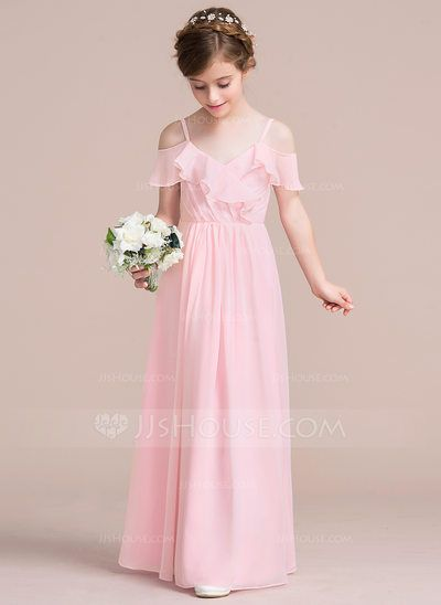 [US$ 64.49] A-Line/Princess V-neck Floor-Length Chiffon Junior Bridesmaid Dress With Cascading Ruffles (009095086)