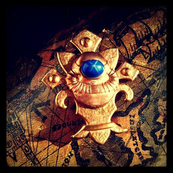DeepSea Diver Steampunk Brooch Pin- Vintage Copper Diver Insignia w Star Sapphire Glass on Fleur De Lis- Unisex FANTASTIC VOYAGE by 19 Moons