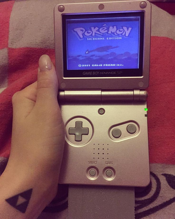 On instagram by sarah_strife  #gameboy #microhobbit (o)  Pokemon Silver <3 #pokemon #pokemonsilver  advance advancesp #lugia #goodolddays #triforce #nintendo